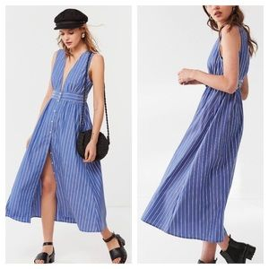 Urban Outfitters Striped Plunging Midi Dress XS